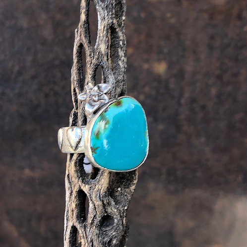 Turquoise Flower & Hearts Ring