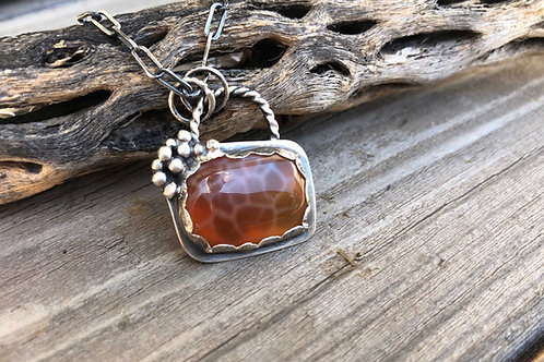 Orange Agate Necklace Sterling Silver