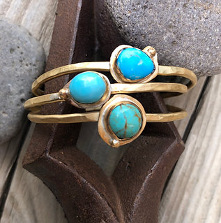 Gold Tone Mini Cuff with Turquoise Hammered Stack
