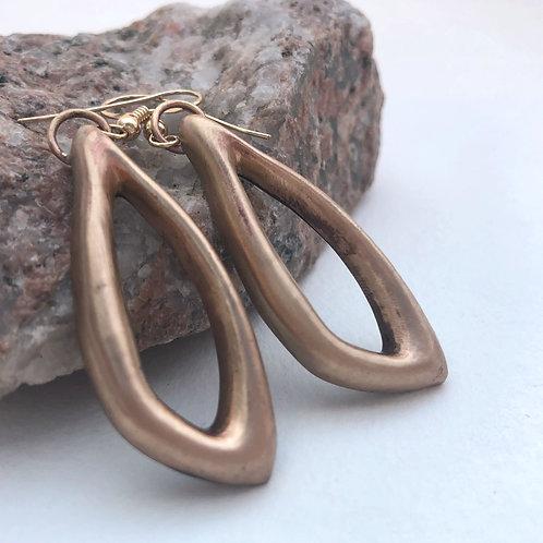 Flower Pedal Earrings in Bronze
