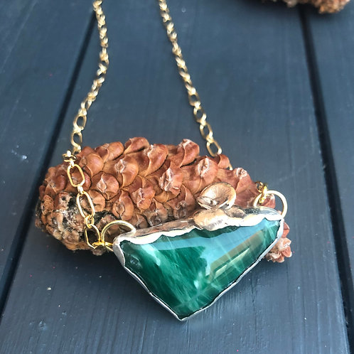 Malachite Gold and Silver Necklace