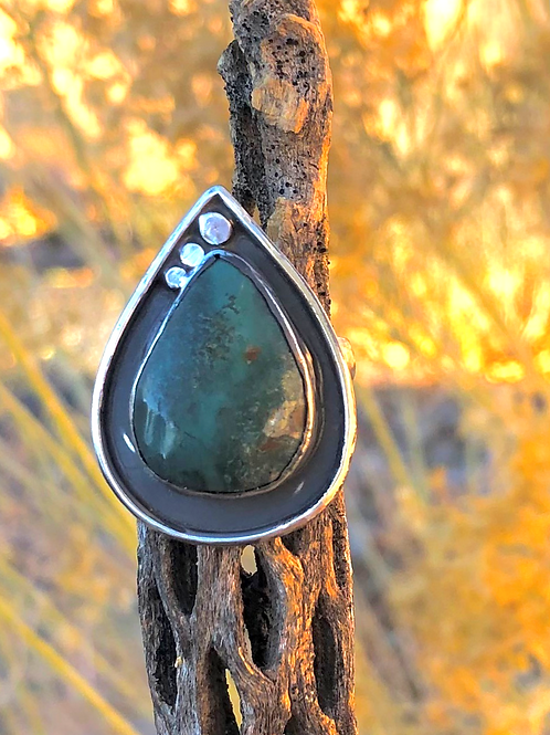Teal Turquoise Statement Ring