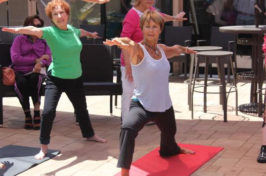 La Jolla Community Center yoga classes in courtyard