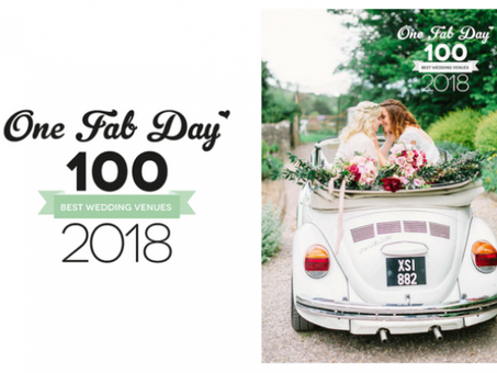 We are delighted to be featured again in One Fab Day's 100 Best Wedding Venues guide.
