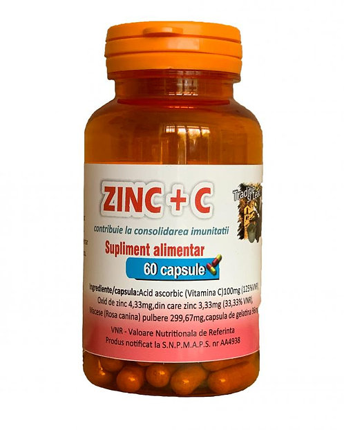 ZINC+VITAMINA C (Cu macese) 60 CAPSULE