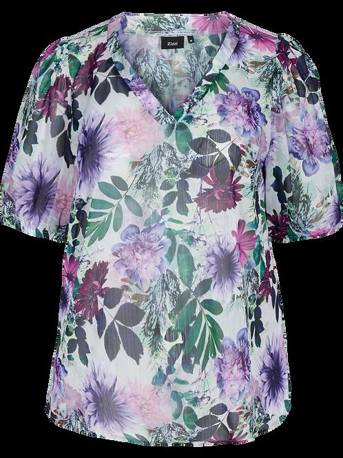 Top met paarse bloemenprint