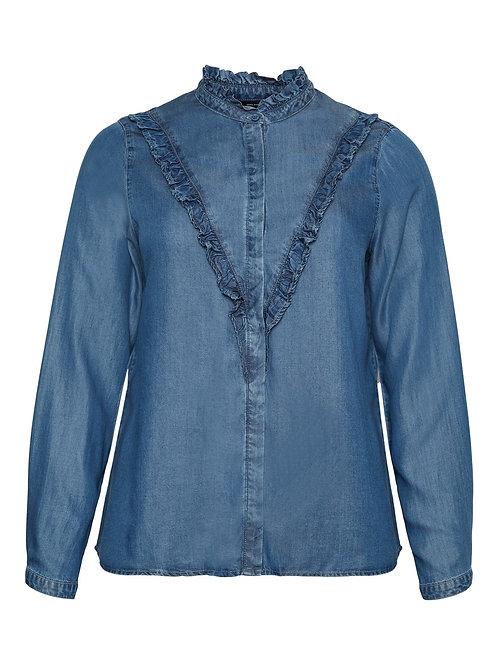 Denim blouse met ruffle