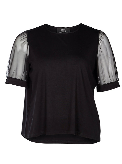 T-shirt met transparant mouwtje
