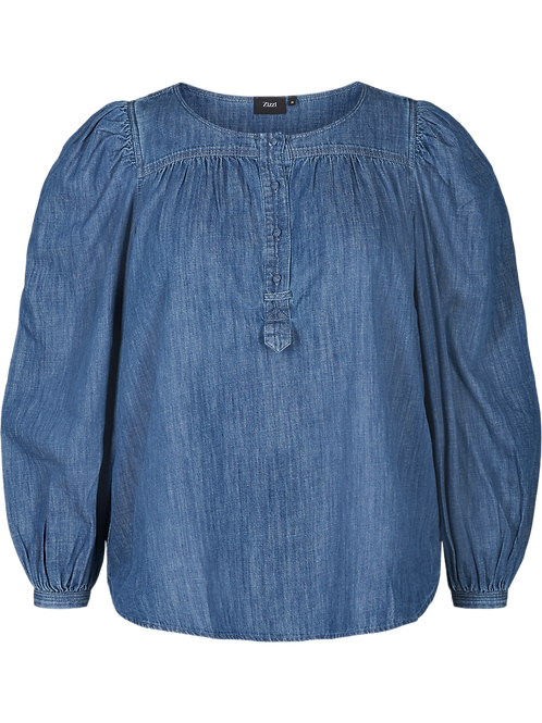 Denim blouse met pofmouwen