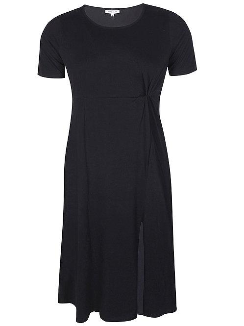 Maxi-jurk met knoopdetail in zwart