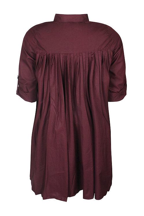 Longblouse/jurkje met plisse achterzijde