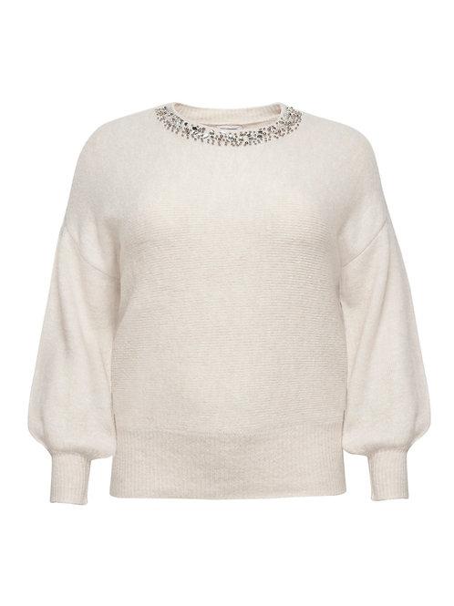 Zachte trui met kraaltjes en strass