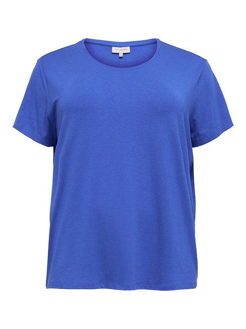 Basic t-shirt in felblauw