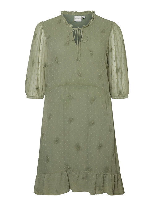 Korte jurk met geborduurde details