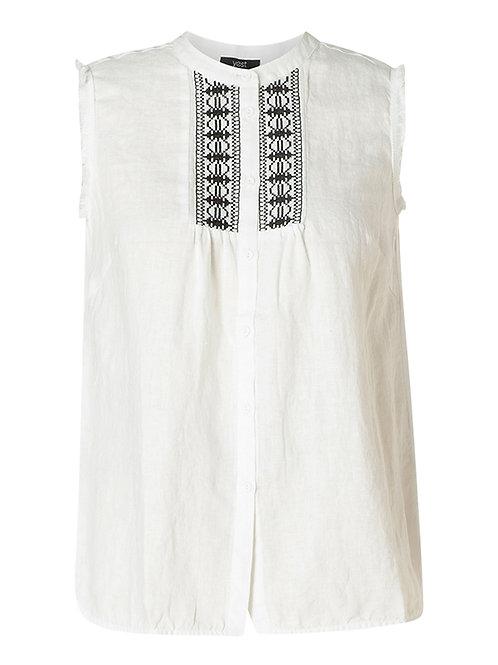 Mouwloze blouse met borduur