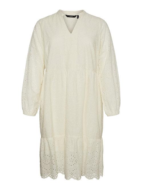 Broderie jurk Nice offwhite