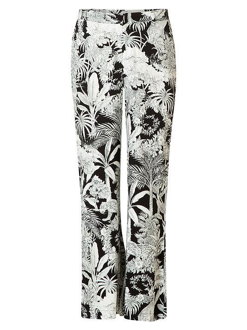 Pantalon in tropische zwart wit print