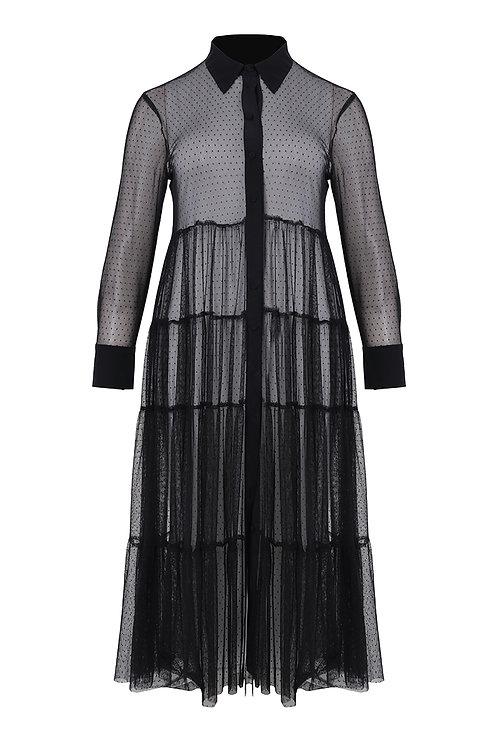 Mesh maxi-jurk met stroken