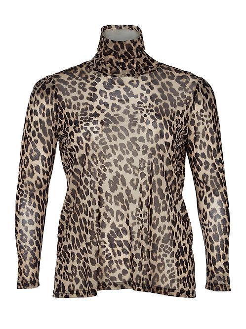 Mesh top in leopard print