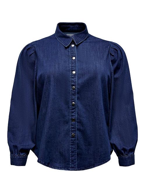 Jeans blouse met pofmouw