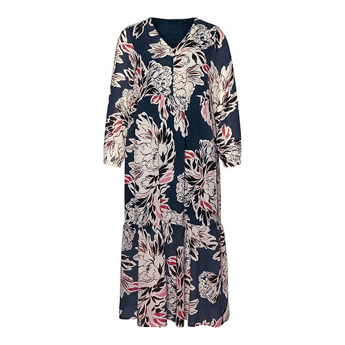 Maxi-jurk met bloemenprint in donkerblauw