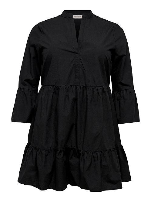 Kort strokenjurkje Corinne in zwart