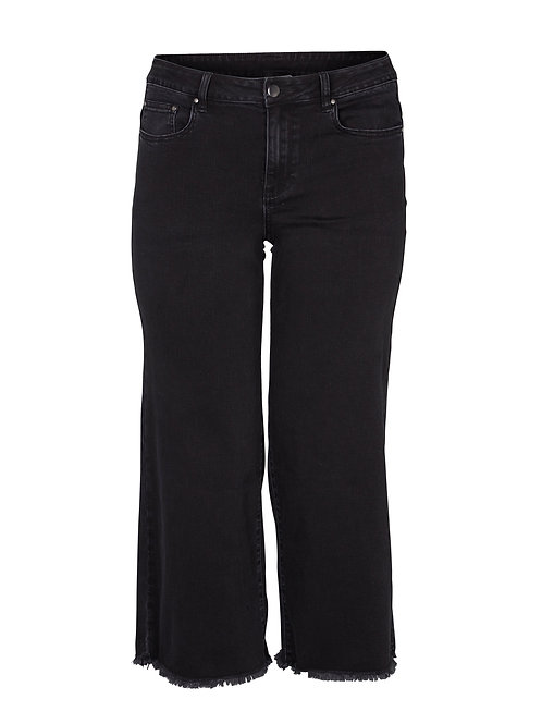 Wijde cropped jeans met rafelrandje