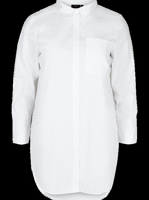 Longblouse van katoen in wit