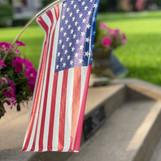 Close up of walkway flag