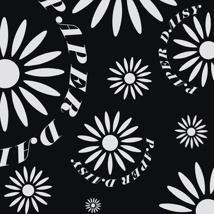 Paper Daisy Pattern - Black