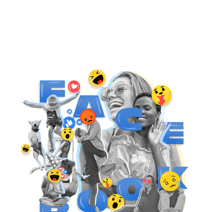 Illustrated Collage - Representation Of Facebook