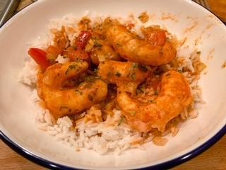Spicey Vegan Shrimp over Rice