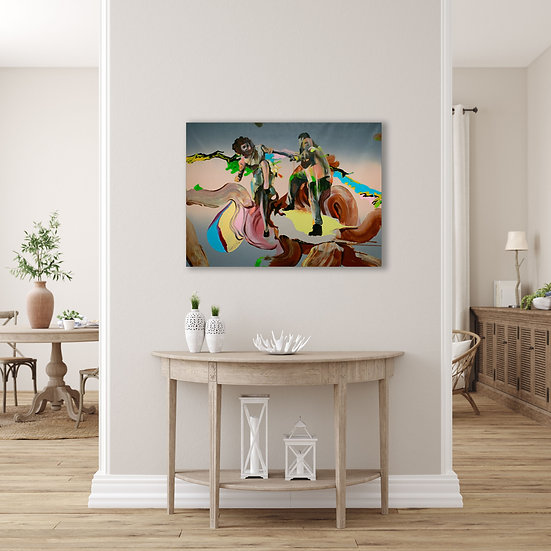 Fish tank. acrylic on canvas original painting, statement artwork for interior decorating, medium size, in context