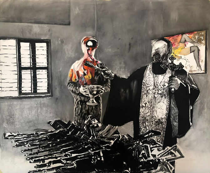 With the will of God, pastel and charcoal drawing on paper, full image