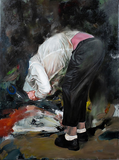 White socks ostrich, oil on canvas, ready to hang, original, figurative, gestural, expressionist, semiabstract painting