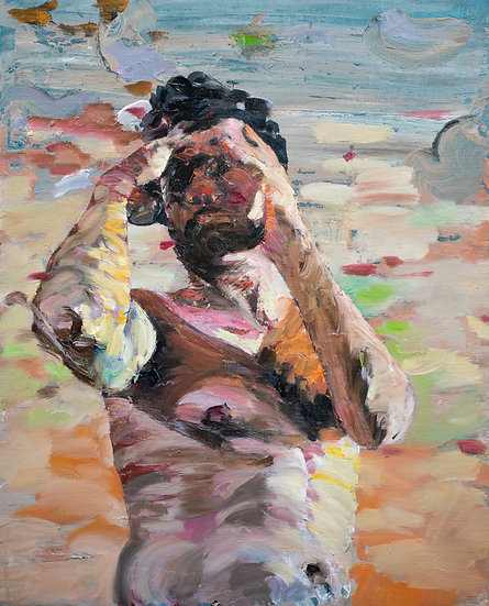 Restricted horizon, oil on canvas, gestural, colorful, figurative, on budget, medium size original painting
