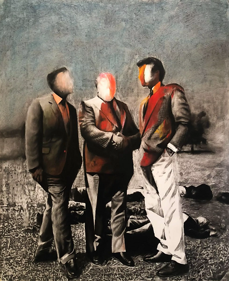 The lobby team, pastel and charcoal drawing on paper, full image