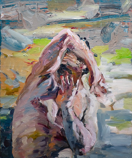 The great hide, oil on canvas, original figurative, expressionist, gestural painting
