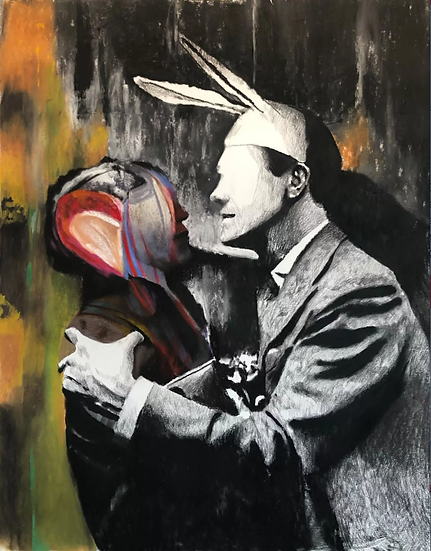 Our first kiss, pastel and charcoal drawing on paper, full image