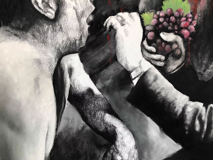 Voting process, pastel and charcoal on paper, detail