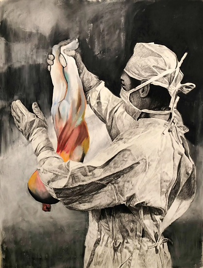 Welcome, pastel and charcoal on paper, full image