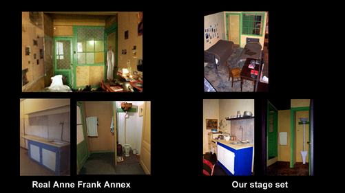 Side by side comparison of the Anne Frank Annex next to set built on stage