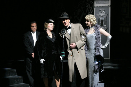 The show started out in a black & white tones and slowly turned to colour as talking pictures ended the silent film era.