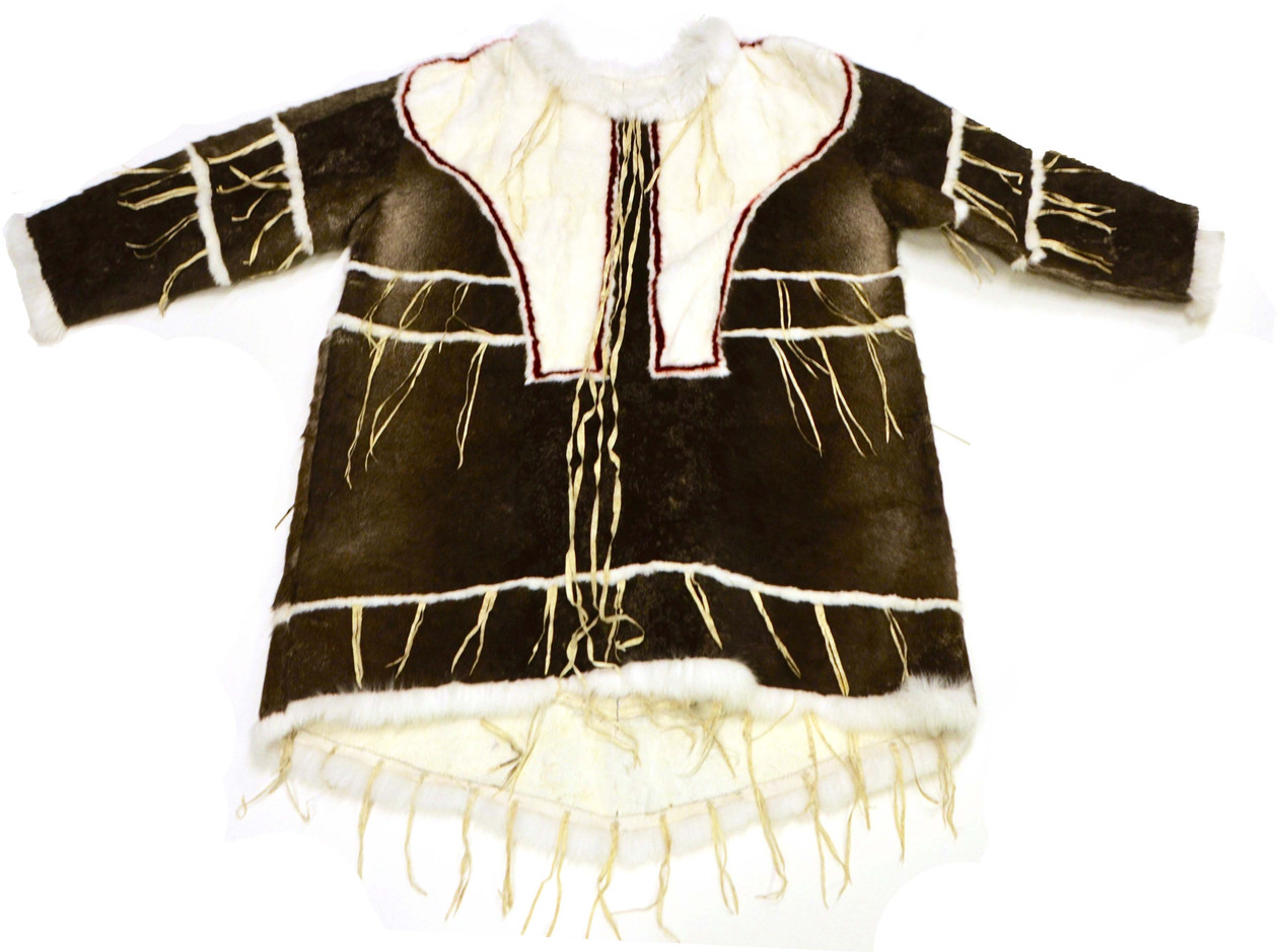 An Inuinnait drum dance jacket sewn by the KHS Elders in Residence for the Inuinnauyugut exhibit. Photo by Brendan Griebel.