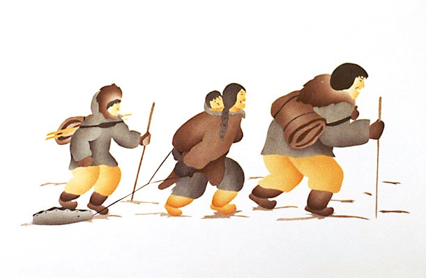Uvajuq and his family travelling across the tundra.