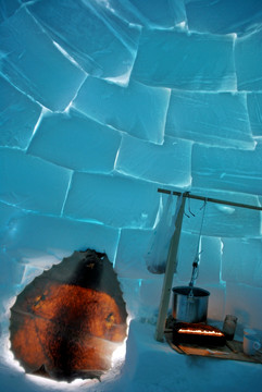 A seal skin is used as an iglu door. Photo by Brendan Griebel.