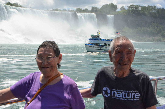 Susie and Jimmy Maniyogina during a visit to Niagara Falls following the exhibit's Ottawa launch. Photo by Brendan Griebel.