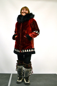 Ann Rose Kerkovius models her home-made sealskin fashion. Photo by Brendan Griebel.