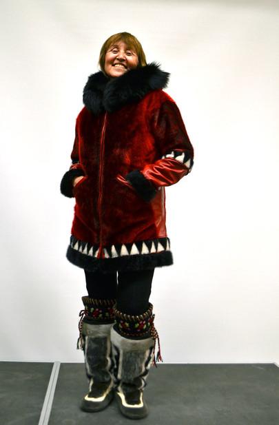 Ann Rose Kerkovius models her home-made sealskin fashion. Photo by Brendan Griebel.