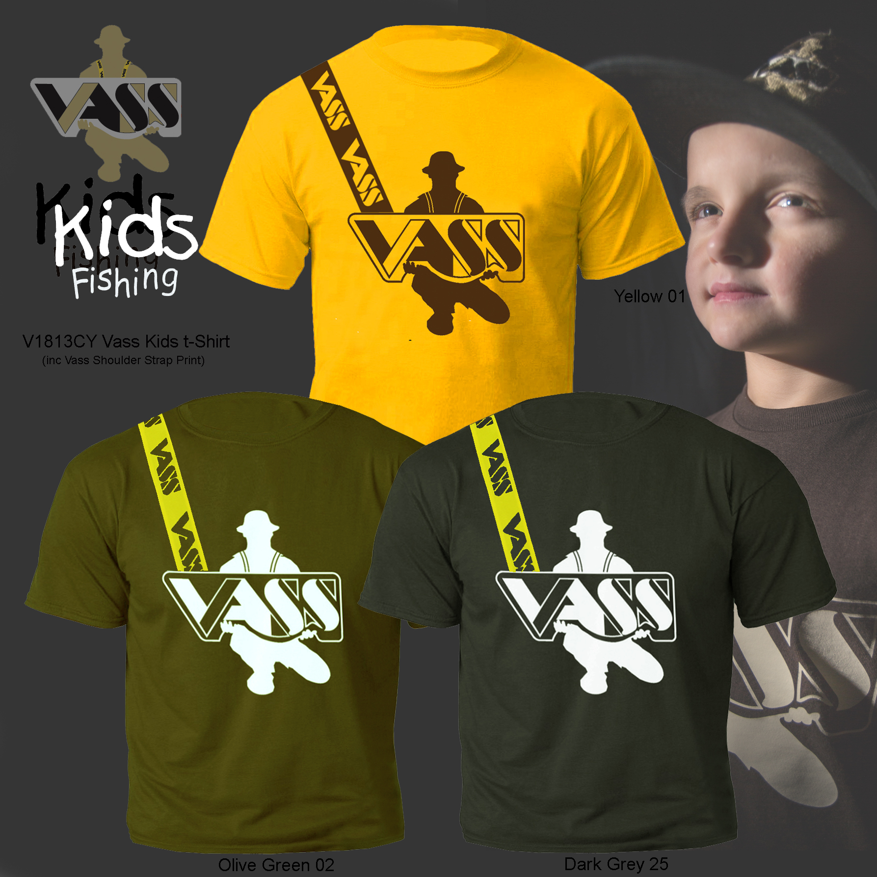 Vass Childrens Fishing T-Shirt inc Vass